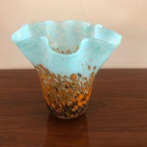 Vintage-Hand Blown Glass Ruffled Edge Hand…